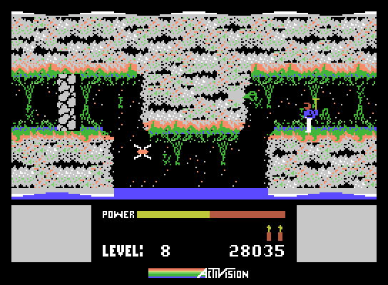 H.E.R.O. ColecoVision Screenshot: You'll need to fly and duck here...