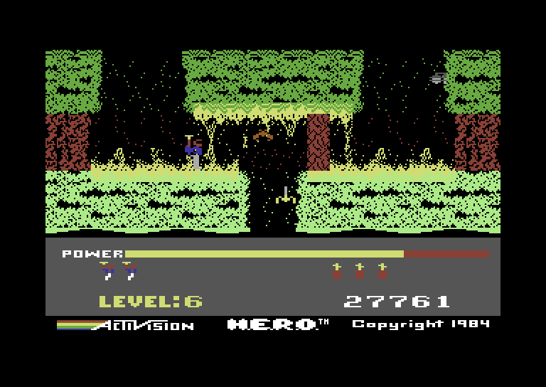 H.E.R.O. Commodore 64 Screenshot: As the game progresses the path becomes longer and more difficult.