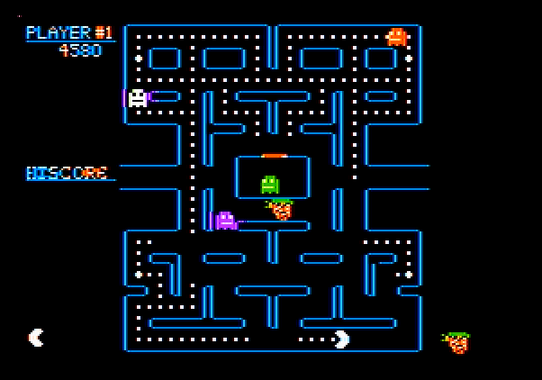 Pac-Man Apple II Screenshot: Get the fruit for bonus points!