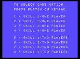 Gorf for ColecoVision - Select a game option.