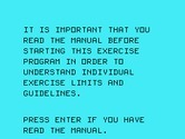 Physical Fitness for TI-99/4A - Be sure to read in the instruction manual...