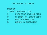 Physical Fitness for TI-99/4A - The main menu.
