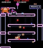 Donkey Kong Junior for Arcade - You need to zig-zag on these platforms to reach the top.