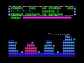 Protector II for TRS-80 Color Computer screenshot thumbnail - Flying through the city; careful, don't shoot friendly people!