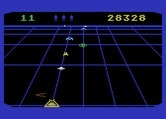 Beamrider for Atari 5200 - Incoming saucer, and an extra life! Shoot carefully...