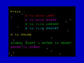 Beamrider for ZX Spectrum - The game shows you your controls...