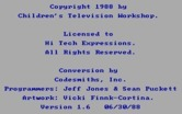 Roll-A-Word for IBM PC/Compatibles screenshot thumbnail - Copyright and credits screen.