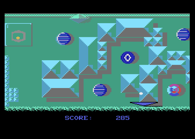 Jinks Atari 7800 Screenshot: Guiding the ball past a few obstacles.