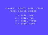 Front Line for ColecoVision - Select a skill level.