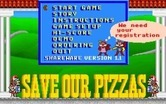 Save Our Pizzas for IBM PC/Compatibles - The main menu (shareware version 1.1)