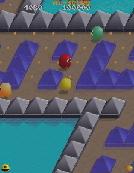 Pac-Mania Arcade Screenshot: The ghosts are closing in!