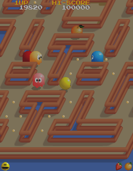 Pac-Mania Arcade Screenshot: There's a bonus fruit! Can I reach it safely for a few bonus points?