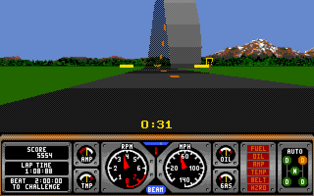 Hard Drivin' Amiga Screenshot: Loop ahead...better have enough speed!