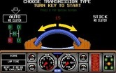 Hard Drivin' for Amiga - Choose transmission type to start the game!
