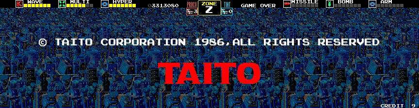 Darius Arcade Screenshot: After the game is completed the credits scroll by and the Taito logo appears.