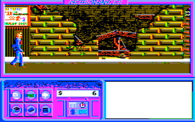 Neuromancer IBM PC/Compatibles Screenshot: The city is rather beaten up in some parts of town.