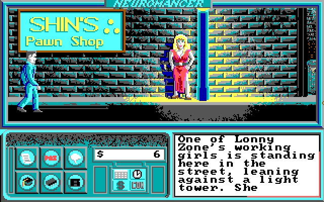 Neuromancer IBM PC/Compatibles Screenshot: There is a girl here...