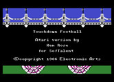 Touchdown Football for Atari 8-bit - Credits screen.