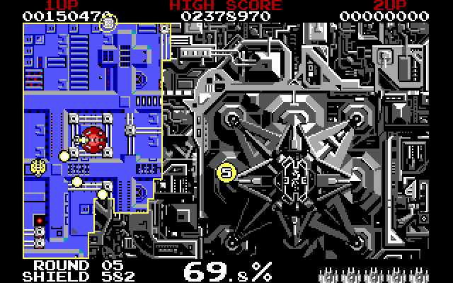 Volfied IBM PC/Compatibles Screenshot: Level almost completed...just need to claim a little more space...