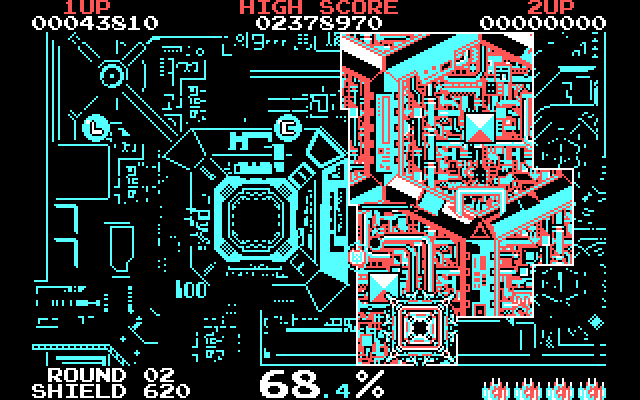 Volfied IBM PC/Compatibles Screenshot: Only a little more space to claim and the round is complete.