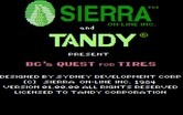 BC's Quest for Tires for IBM PC/Compatibles - Title screen (Tandy licensed release).