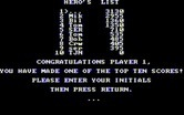 BC's Quest for Tires for IBM PC/Compatibles - The high score table.