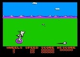 BC's Quest for Tires for Apple II - Game start; here comes a rock to jump over!
