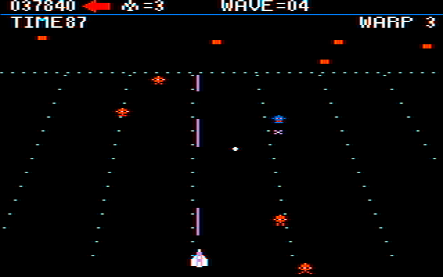 Juno First IBM PC/Compatibles Screenshot: There are several types of enemies encountered, each with different attack patterns...