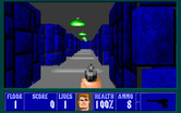 Wolfenstein 3D for IBM PC/Compatibles - A long hallway, with lots of places for enemies to hide...
