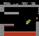 Super Mario Bros. for NES / Famicom - End of the castle stage; Bowser falls into the lava!