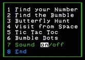 Bumble Games for Apple II screenshot thumbnail - The main menu.