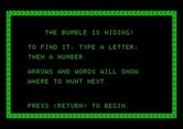 Bumble Games for Apple II screenshot thumbnail - Bumble is Hiding game instructions.