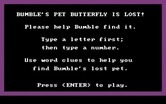 Bumble Games for IBM PC/Compatibles screenshot thumbnail - Bumble's Pet Butterfly game instructions.