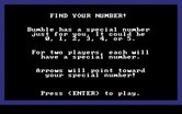 Bumble Games for IBM PC/Compatibles screenshot thumbnail - Find Your Number game instructions.