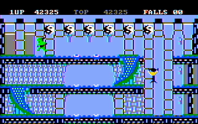 Bruce Lee IBM PC/Compatibles Screenshot: Falling down...