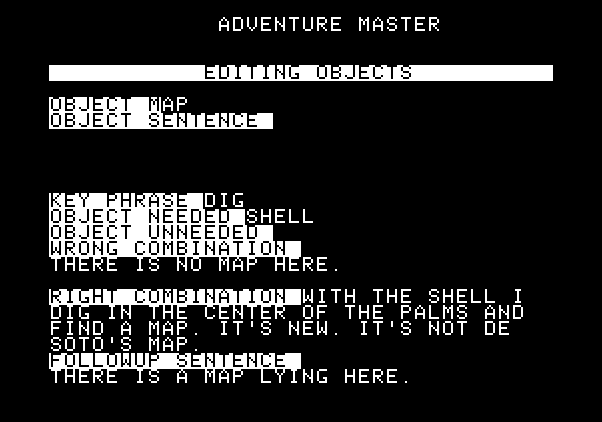 Adventure Master Apple II Screenshot: Editing game objects...