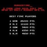 BurgerTime for Arcade screenshot thumbnail - Game title and high scores (U.S. version).