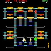 BurgerTime for Arcade screenshot thumbnail - Trapped between a pickle and an egg...