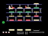 BurgerTime for TI-99/4A screenshot thumbnail - Gameplay on the second level.
