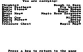 King's Quest III: To Heir is Human for IBM PC/Compatibles - Inventory; The items with a  * are trouble if you get caught with them!