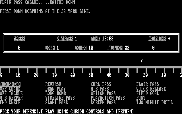 Armchair Quarterback IBM PC/Compatibles Screenshot: First down, Dolphins...