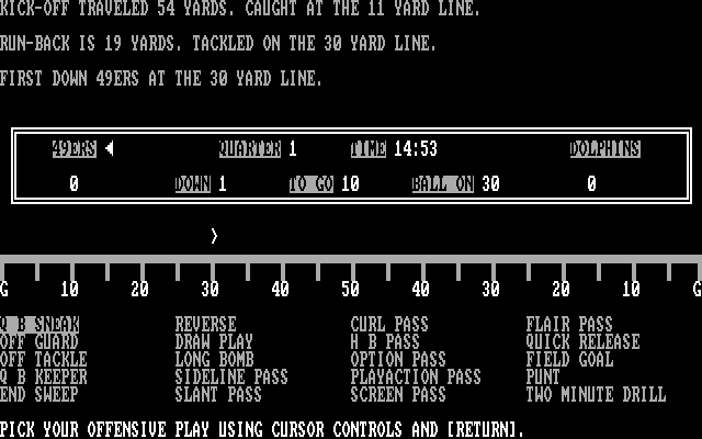 Armchair Quarterback IBM PC/Compatibles Screenshot: Game start.