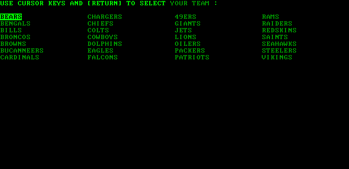 Armchair Quarterback IBM PC/Compatibles Screenshot: Selecting the teams...