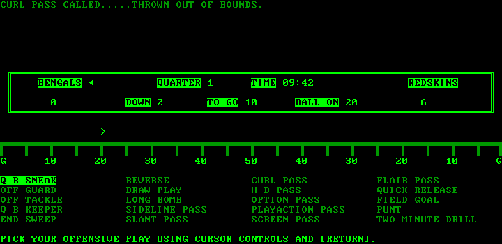 Armchair Quarterback IBM PC/Compatibles Screenshot: Thrown out of bounds...