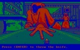 Manhunter: New York for IBM PC/Compatibles - The knife throwing game.