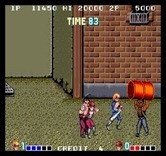 Double Dragon for Arcade - Careful, don't get hit by a thrown barrel!