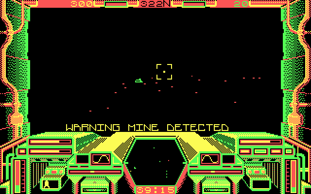 Starglider IBM PC/Compatibles Screenshot: Warning, mine detected!