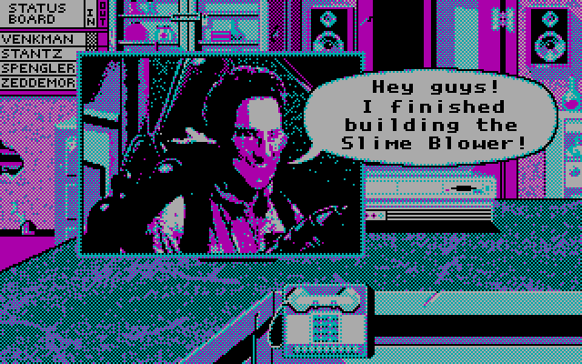 Ghostbusters II IBM PC/Compatibles Screenshot: Good news! The slime blower is ready!