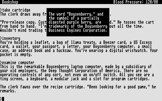 Bureaucracy Atari ST Screenshot: The description of my Boysenberry computer...