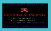 Donkey Kong for Commodore VIC-20 - Title screen.